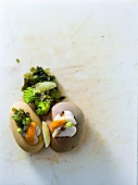 Scallops with Romanesco broccoli and seaweed