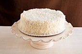 Coconut Cake on a Cake Plate
