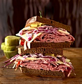 Corned Beef Sandwich with Cabbage and Mustard