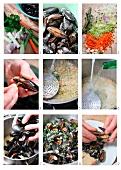 Miesmuscheln im Gemüsesud zubereiten