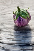 A Single Rosa Bianca Eggplant on an Aged Wooden Surface