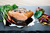 Grilled Salmon with Edible Flowers and Baby Carrots