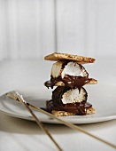 Double Decker S'mores with Marshmallow Roasting Skewers