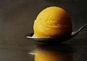Scoop of Lemon Sorbet on a Spoon