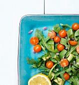 Arugula Salad with Avocado, Cherry Tomatoes, Red Onion and Lemon