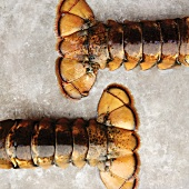 Two Lobster Tails on a Sheet Pan; From Above