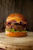 Bacon Cheeseburger with Onion and Lettuce