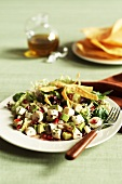 Hearts of Palm Salad with Pomegranate Seeds and Tortilla Strips