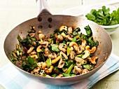 Stir-fried mushrooms with cashew nuts