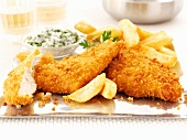 Breaded chicken breast with chips
