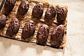 Chocolate bread on a baking tray