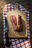 Roasted saddle of wild boar, sliced
