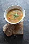 Spicy semolina soup with cress and chilli peppers