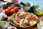 A mixed grill platter