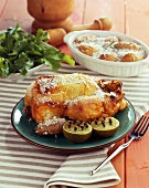 Lemon chicken and potatoes with a salt crust