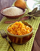 Coconut rice with prawns