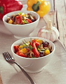 Vegetable salad with aubergines