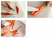 Chilischoten blütenfömig schneiden