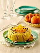 Peach dessert with grated chocolate