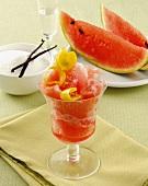 Watermelon sorbet with lemon zest