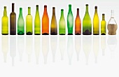 A row of various wine bottles