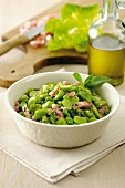 Fava beans and peas with bacon