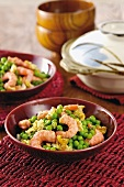 Prawns with peas and scrambled egg