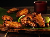 Grilled chicken wings with a lime and chilli marinade