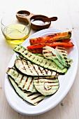 Grilled sliced vegetables with olive oil