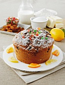 Bensone (sponge cake from Modena, Italy) with sultanas and candied fruits