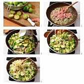 Brussels sprouts with ham and cheese being made