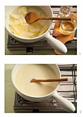 Making Swiss cheese fondue