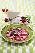 Beef carpaccio with radishes