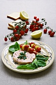Poached salmon with tomato-bread kebabs