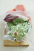 Lettuce and radicchio, vacuum-packed