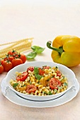 Fusilli with pepper cream and tomatoes