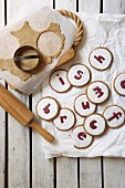 Spiced biscuits decorated with glacé icing and letters