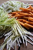 Julienned vegetables (leek, carrots, kohlrabi)
