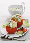 Stuffed tomatoes with cucumber and a chive sauce