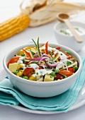 Vegetables salad with a yogurt dressing