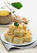 Sweet rice cakes with pine nuts
