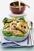 Asp salad with egg, ham and a mustard dressing