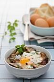 Porcini mushroom soup with a fried egg