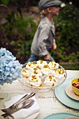 Meringue with passion fruit cream on a table outdoors