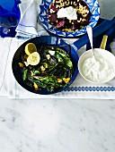 Roasted beetroot, sautéed beetroot leaves and Greek yoghurt