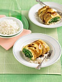 Omelette with pak choi and green beans on rice