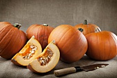 Whole pumpkins and pumpkin wedges