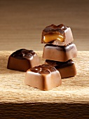 Chocolate confectionery with caramel