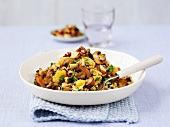 Pilau rice with mushrooms and almonds