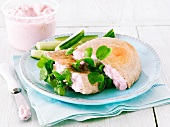 Pita bread with taramasalata and cucumber
